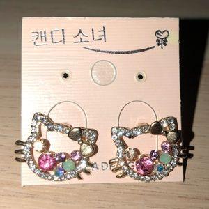 """Hello kitty"" inspired rhinestone earrings"